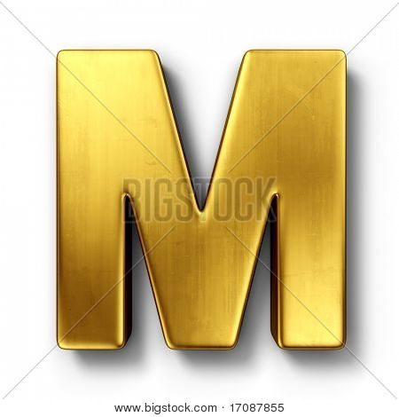 3d rendering of the letter M in gold metal on a white isolated background.