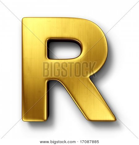 3d rendering of the letter R in gold metal on a white isolated background.