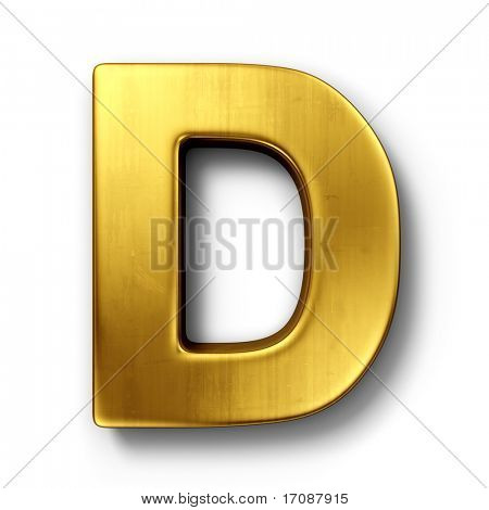 3d rendering of the letter D in gold metal on a white isolated background.