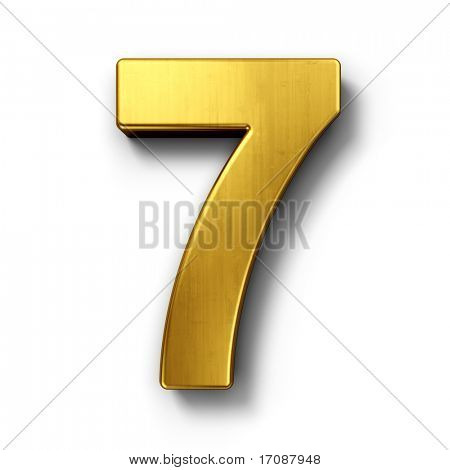 3d rendering of the number 7 in gold metal on a white isolated background.