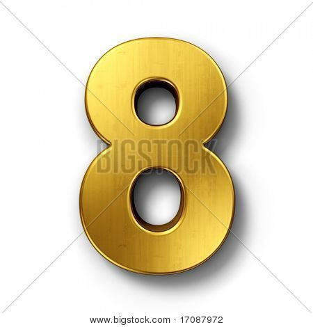 3d rendering of the number 8 in gold metal on a white isolated background.