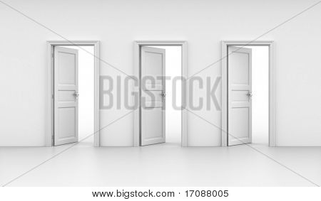 3d rendering of three open doors