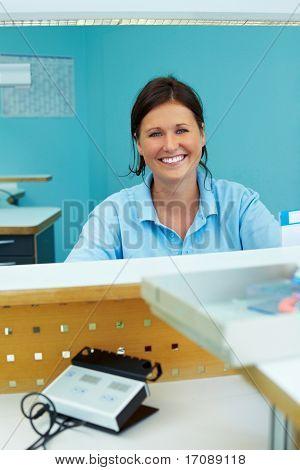 Woman In Dental Laboratory