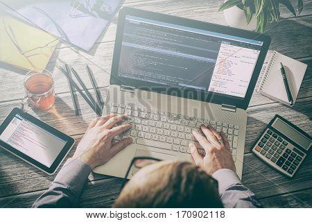 coding code program programming developer compute web development coder work design software closeup desk write workstation key password theft hacking firewall concept - stock image