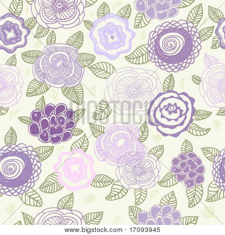 Pastel colored floral pattern in vector for cute background