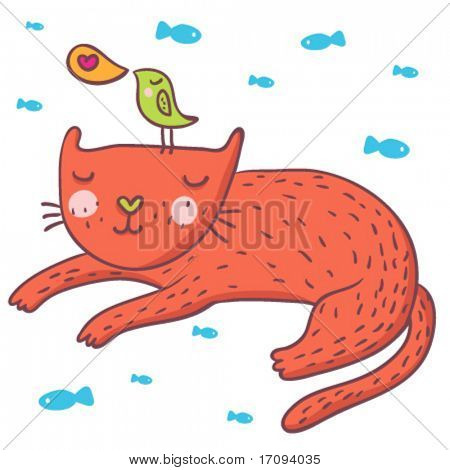 Cute cartoon bird and cat in vector