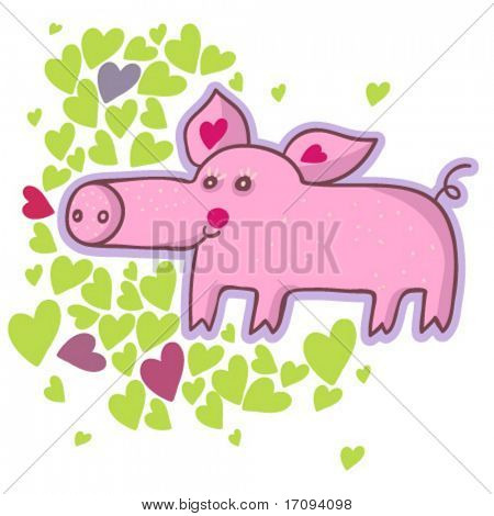 Funny cartoon pig in vector