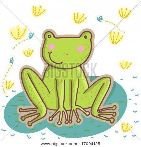 Cartoon frog in vector