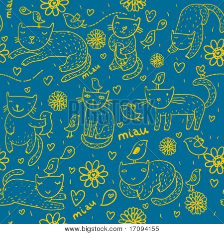 Childish seamless pattern with cartoon pets on it