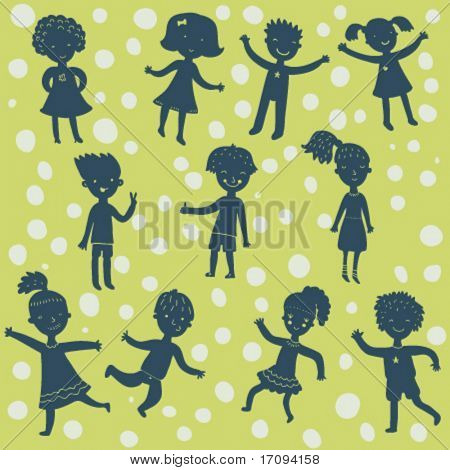 Funny playing cartoon kids silhouettes in vector