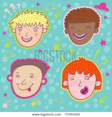 Smiling boys - cute stylish modern set. This illustration in vector - in my portfolio.