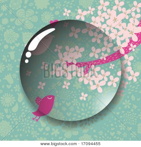 Lens on cute spring background  in vector