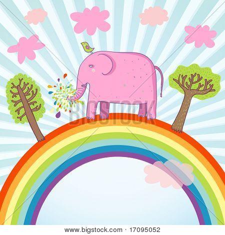 Cartoon summer illustration - cute pink elephant on a rainbow