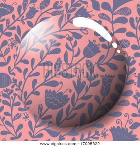 Summer stylish icon in vector. Lens on a cute floral seamless pattern in vector