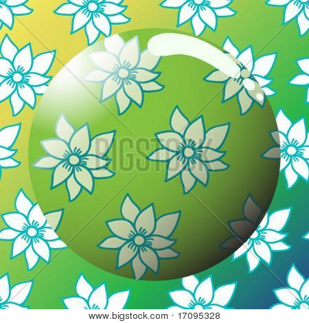 Lens on a cute summer floral pattern in vector