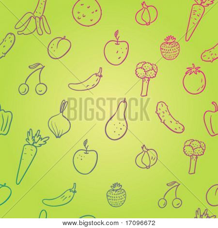 Frutas y verduras. Saludable de patrones sin fisuras