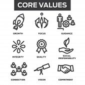 Company Core Values Outline Icons For Websites Or Infographics poster