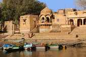 picture of gad  - Gad sagar tank near jaisalmer in rajasthan state in india - JPG