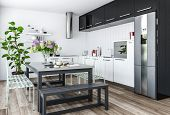 Modern kitchen in minimalist interior design with black and white furniture and dining table with ch poster