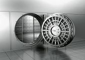 pic of vault  - 3d rendering of an open bank vault - JPG