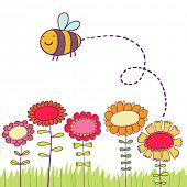 Cartoon bee vliegen over bloemen