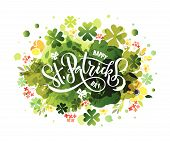 St.patricks Day Celebration Design On Textured Background. Lettering Typography. poster