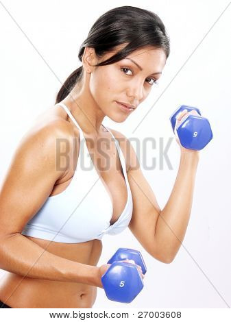 Young Woman doing fitness exercise with a hand weights.