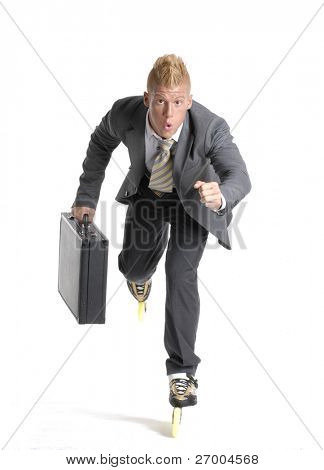Young businessman skating on white background.