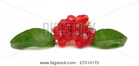 Pomegranate arils with leaves