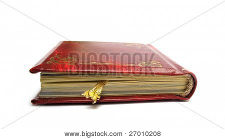 Book old with deep red leather covers