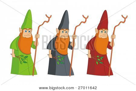 Sorcerer leprechaun magician vector illustration cartoon