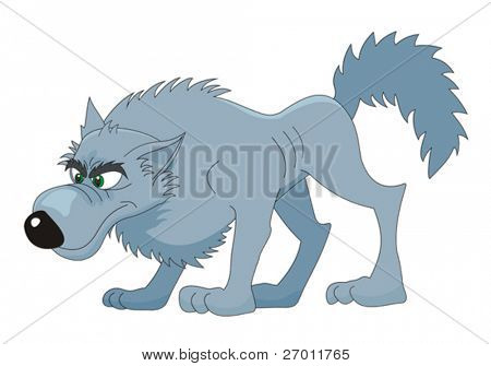 Wolf cartoon vector illustration