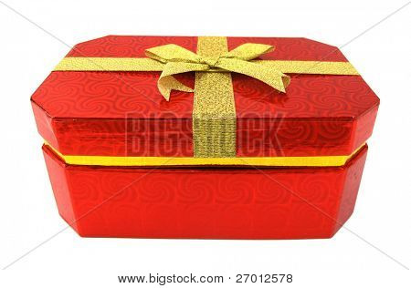 Gift box red package with golden yellow bow