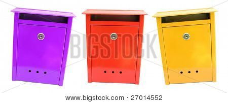 Three colorful mailboxes