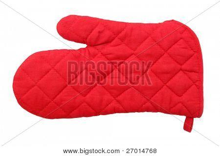 Red oven glove mitt