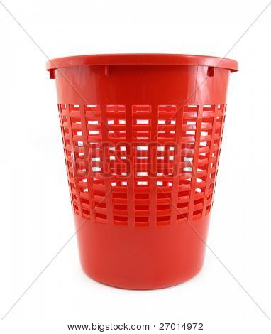 Wastebasket red plastic