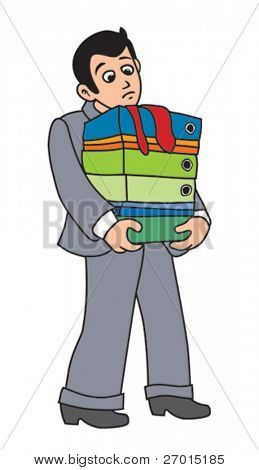 Business man is carrying pile of documents