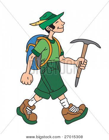 Man is hiking cartoon vector illustration