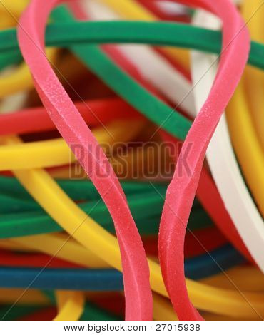 Rubber bands colorful macro