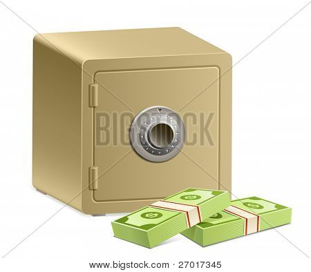 Strongbox with a combination lock and pack of dollars