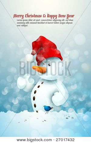 Snowman with Santa's Hat in fellowship with a little Blue Bird | Christmas Greeting Background | EPS10 Graphic | Separate Layers Named Accordingly