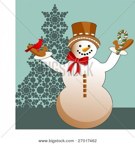 Snowman with bird and candycane in hands -  tree
