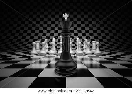 King of leader at the head of chess on chessboard