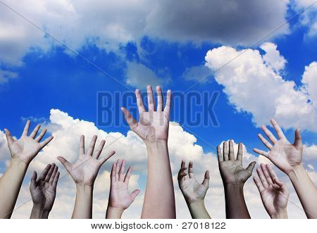 Happy hand on a sky background
