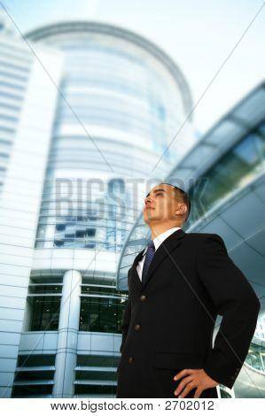 Business Man Overlook Building