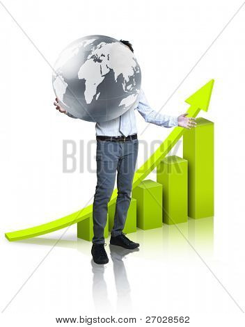 businessman holding glowing earth in the hand