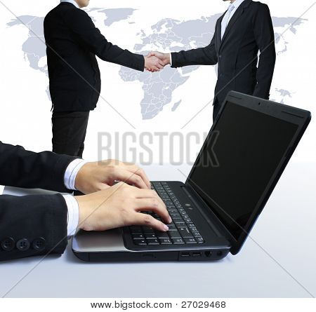 laptop, shake hands