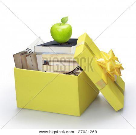 open yellow gift box