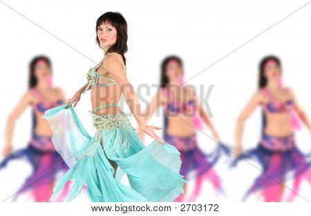 Bellydancer With Group Girls