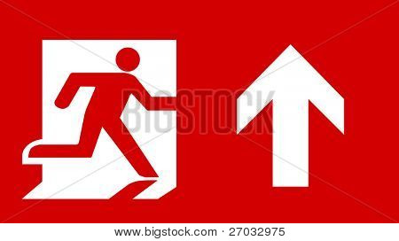 Symbol of Fire Exit Sign with Arrow up isolated on Red Head Right